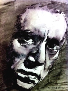 ink drawing of male face