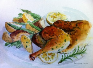 watercolor painting of chicken with potatoes