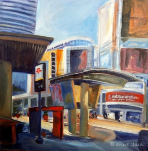 painting of dundas square in toronto