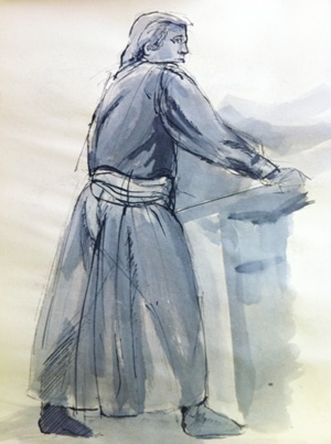 ink drawing of man in period costume