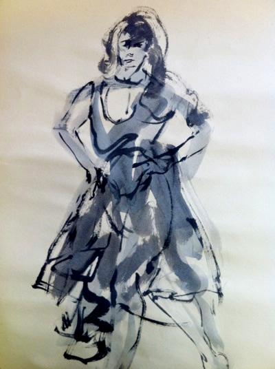 ink drawing of woman dancing