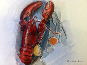 drawing of lobster on a plate