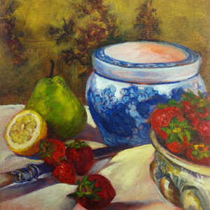 oil painting of table with fruits