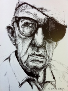 ink drawing of man with eye patch