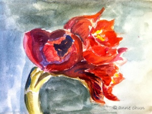 watercolor of amaryllis