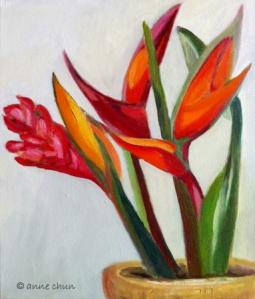 tropical flower pot