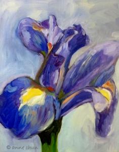 blue iris painting