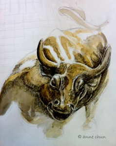 ink drawing of bull on wall street
