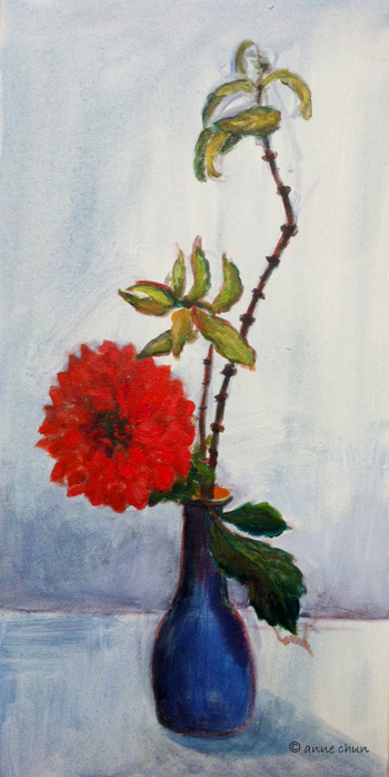 dahlia in blue vase