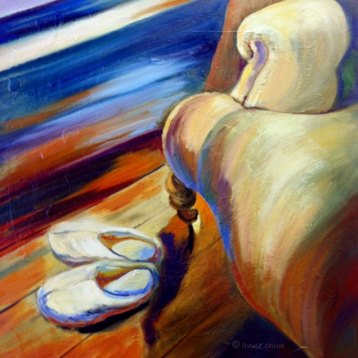 chair and slippers-painting