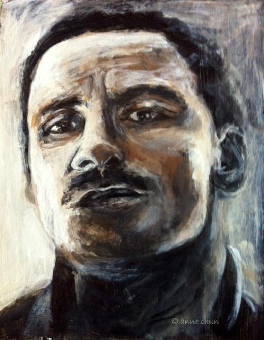 michael fassbender portrait in acrylic