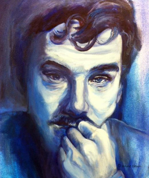 portrait study in oil of benedict cumberbatch