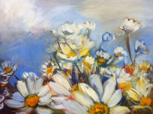Painting of field of daisies