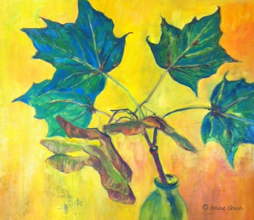 oil painting of maple leaves
