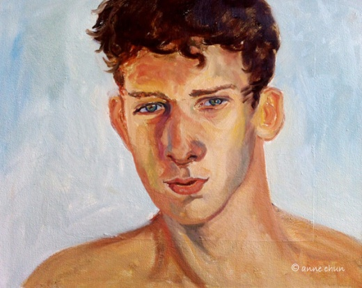 portrait study of young man in oil