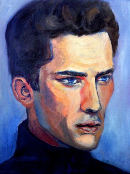 oil portrait study of male model