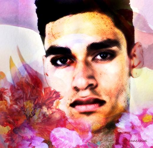 man of flowers - digital portrait