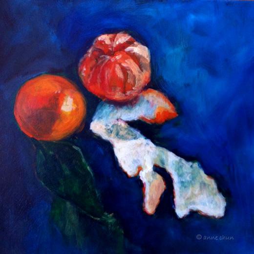 Tangerines, peel still life in acrylic