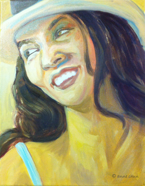 portrait of a laughing woman