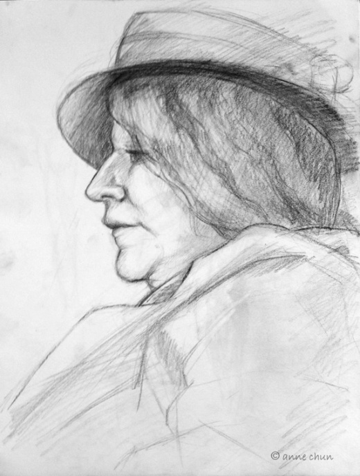 drawing of woman in profile