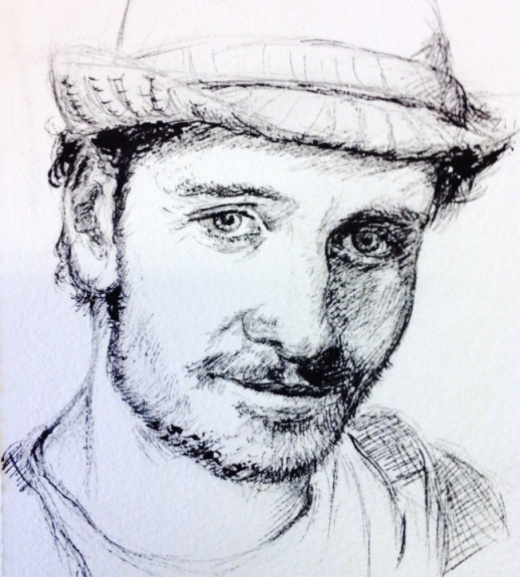 Ink Sketch of man in a hat